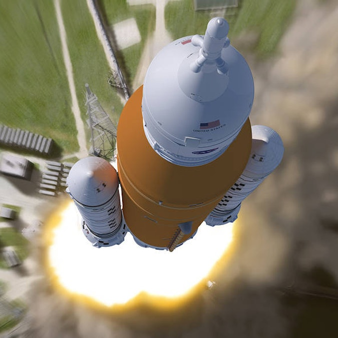 This artist rendering shows an aerial view of the liftoff of NASA's Space Launch System (SLS) rocket. This Block 1 crew configuration of the rocket that will send the first three Artemis missions to the Moon.