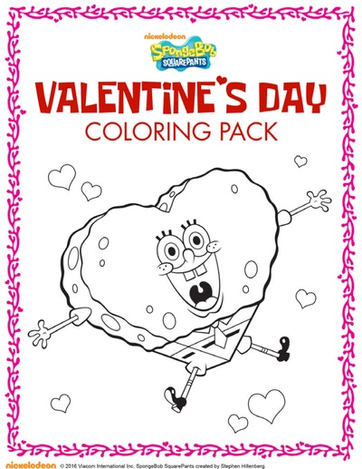 Spongebob Coloring Valentine's Pack