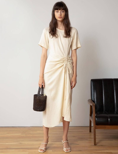 Ruched Tie Front Maxi Dress