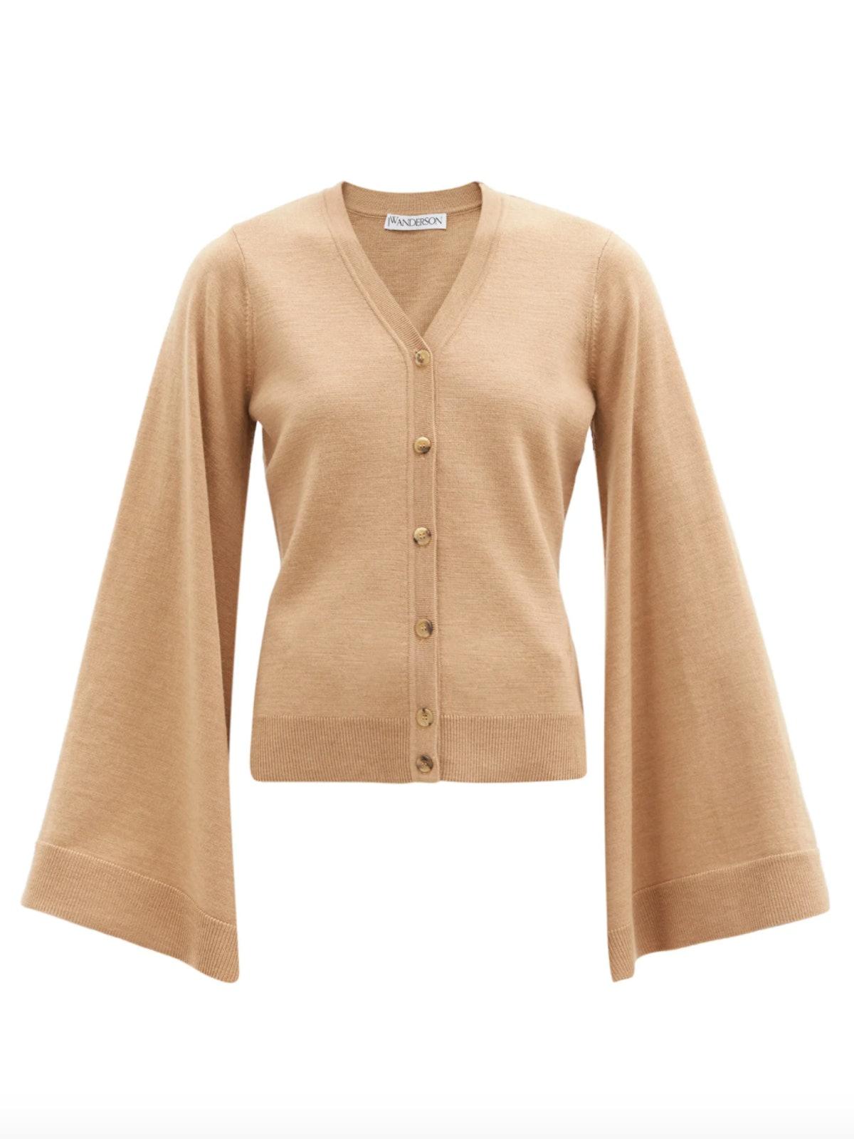 Wing-Sleeve Merino Wool Cardigan