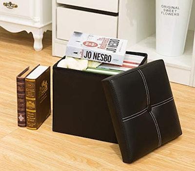 YCOCO Faux Leather Storage Stool