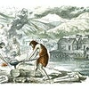 A foundry workshop on the outskirts of a lake town, in the Bronze Age, vintage engraved illustration.