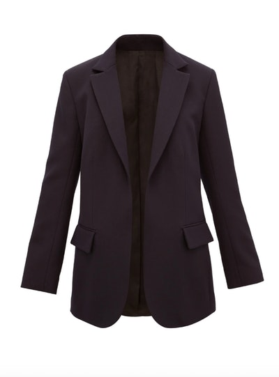 Single-Breasted Wool Twill Suit Jacket