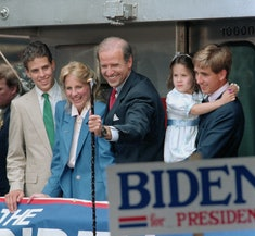Joe Biden smiled with his family while announcing his run for president.