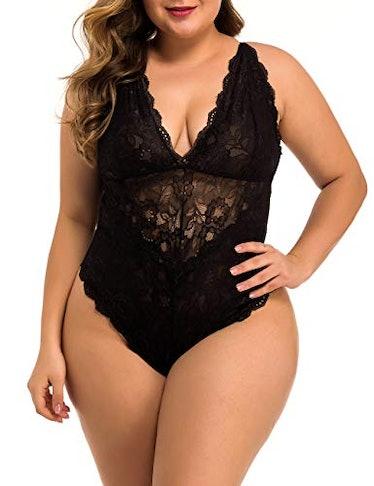 XAKALAKA Women Plus Size Lace Bodysuit