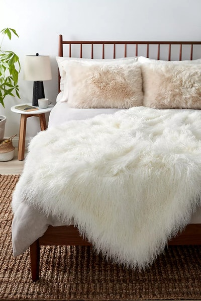 Polar Dreams Tibetan Lamb Fur Throw Blanket