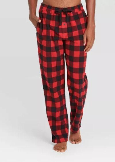 Men's Buffalo Checked Microfleece Pajama Pants