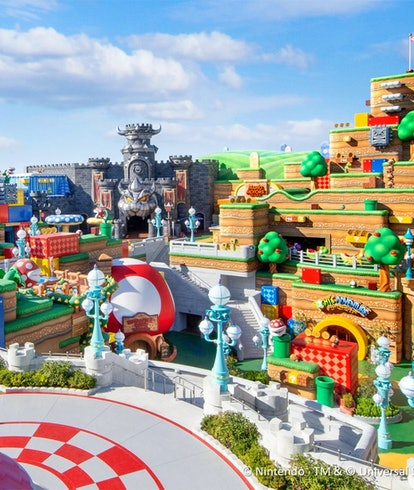 A picture of the Super Nintendo World theme park in Japan.