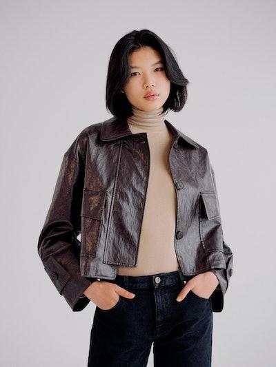 Faux Leather Oversized Jacket