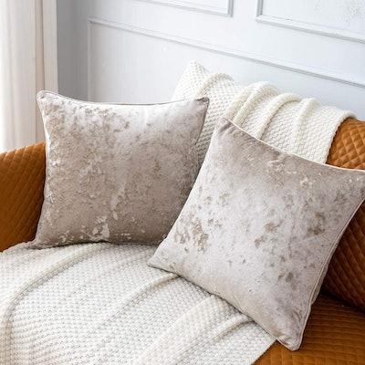 PANDATEX Crushed Velvet Throw Pillow Covers (2-Pack)