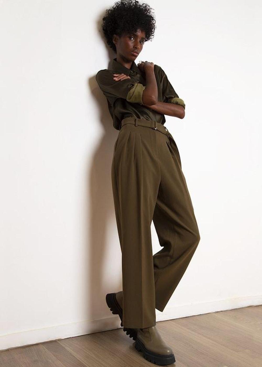 Belted Suit Pants in Cardomom