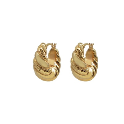 9K Gold Ribbed Hollow Hoop Earrings