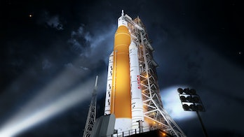 Illustration of the Space Launch System in its Block 1 crew vehicle configuration