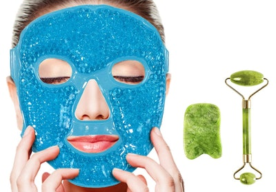 Gyothrig Face Eyes Gel Ice Mask with Jade Roller and GuaSha Tool