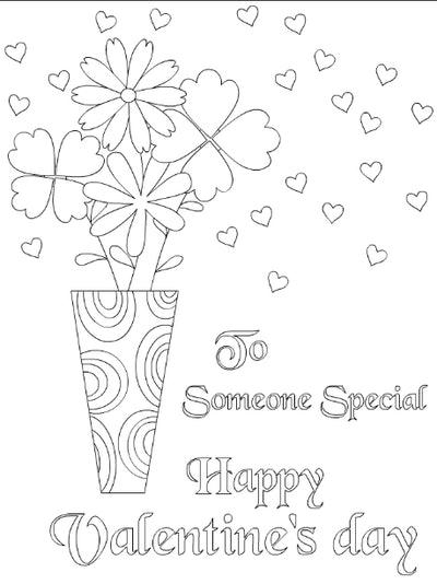 Happy Valentine's Day Coloring Card