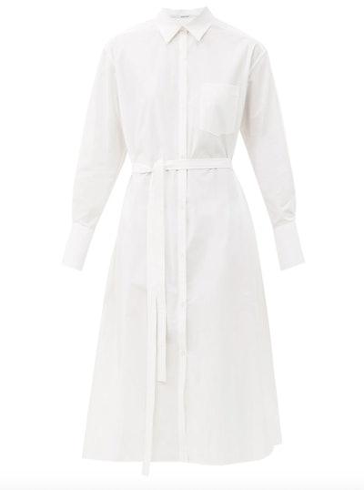 Belted Organic Cotton-Poplin Shirtdress