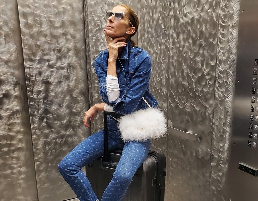 Celine Dion wearing a fuzzy white Chanel bag.