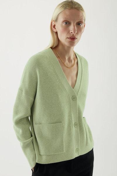 Wool-Mix Workwear-Style Cardigan