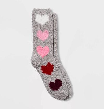 Women's Cozy Gradient Big Hearts Valentine's Day Crew Socks