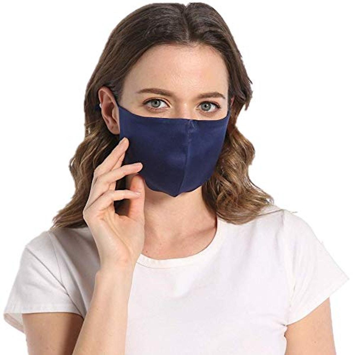 ROSEWARD 100% Mulberry Silk Face Adjustable Mask with Filter Pocket