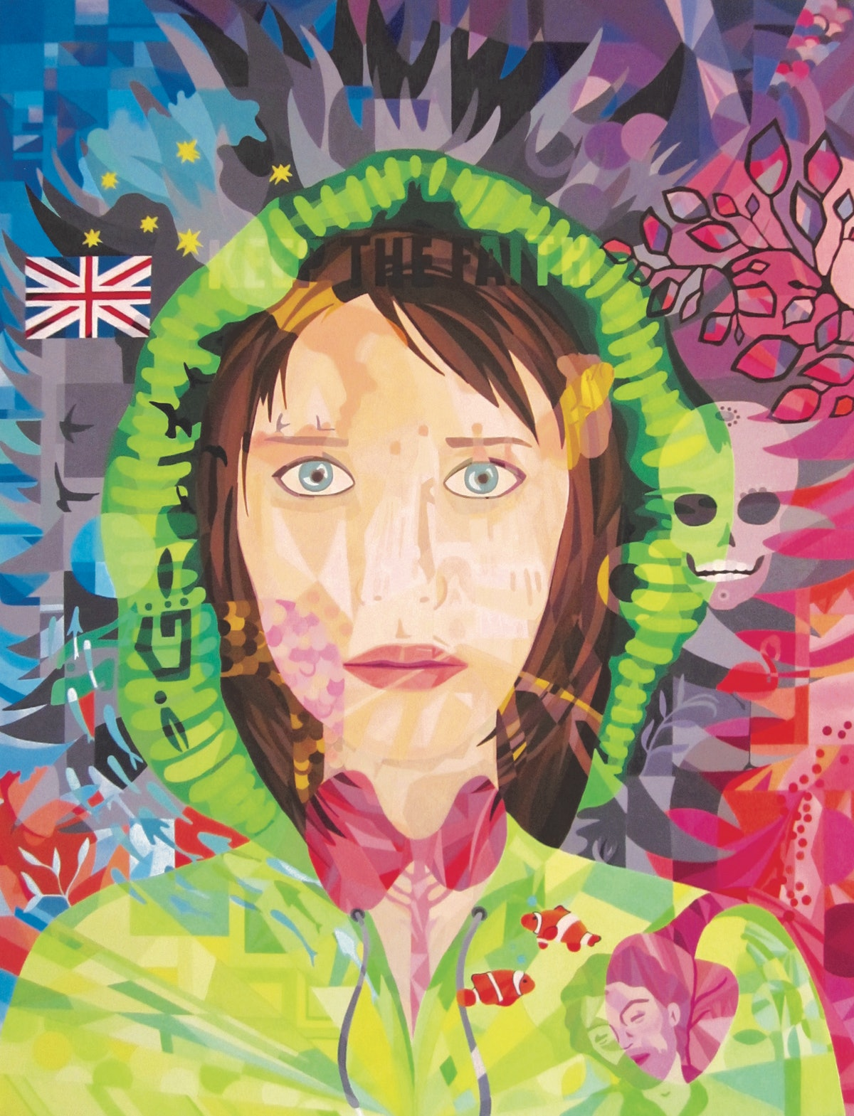Lourdes Villagomez's self portrait, a semi-abstract image of a woman with blue eyes and brown hair, wearing a green hoodie on a blue and red background surrounded by superimposed images of fish, skulls, human organs, human faces, trees, leaves, and more.