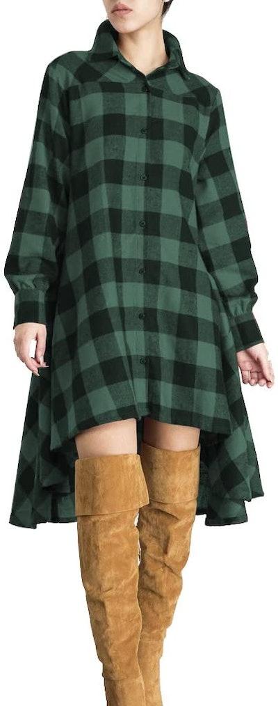 OLRAIN New Plaids Irregular Hem Shirt Dress