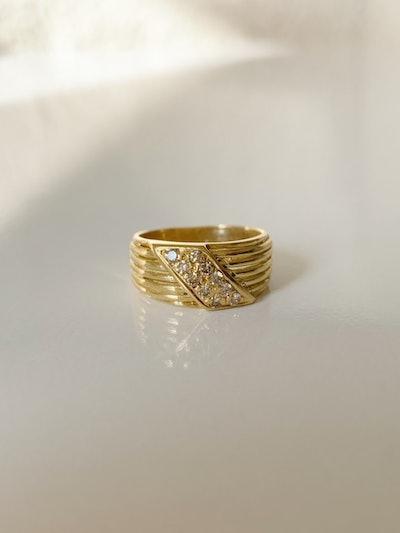18k Stacked Ribbed Ring