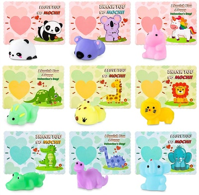 Unomor Store Valentine's Day Cards with Mochi Squishy Toys for Kids (36-Pack)