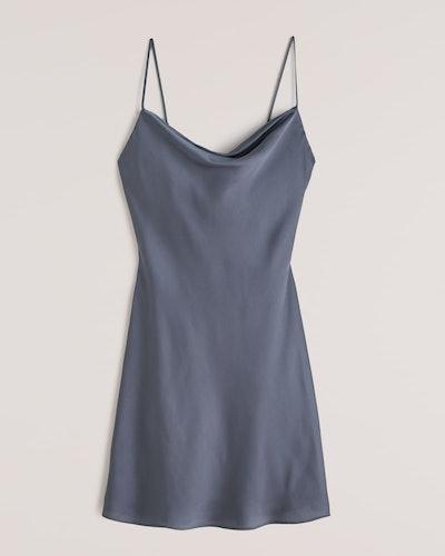 Cowlneck Slip Mini Dress