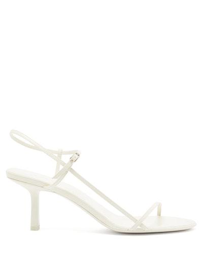 Bare Mid-Heel Leather Slingback Sandals