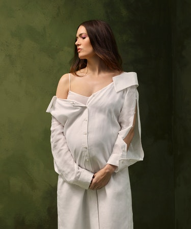 Pregnant Mandy Moore poses in a Fendi dress for Romper's cover.