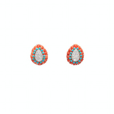 Coral, Turquoise and Diamond Paisley Earrings