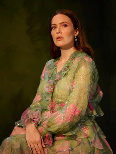 Romper cover star Mandy Moore poses in a Gucci dress.
