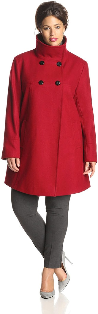 Larry Levine Plus-Size Double-Breasted Wool-Blend Coat