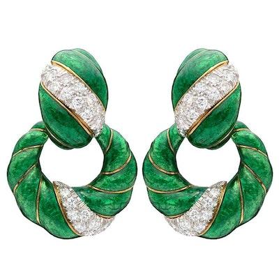 Diamond and Enamel Dooknocker Earrings