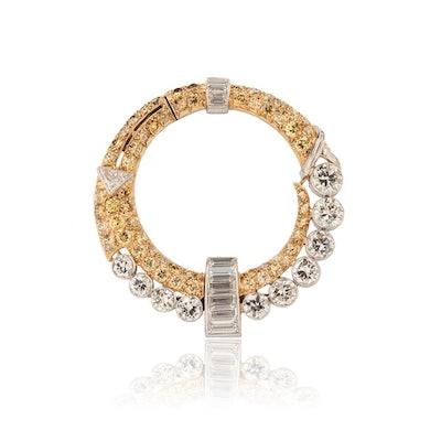 Circular Yellow Diamond Brooch