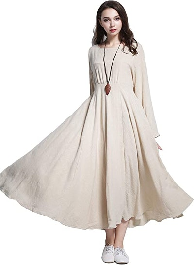 Anysize Double-Layer Linen Cotton Dress