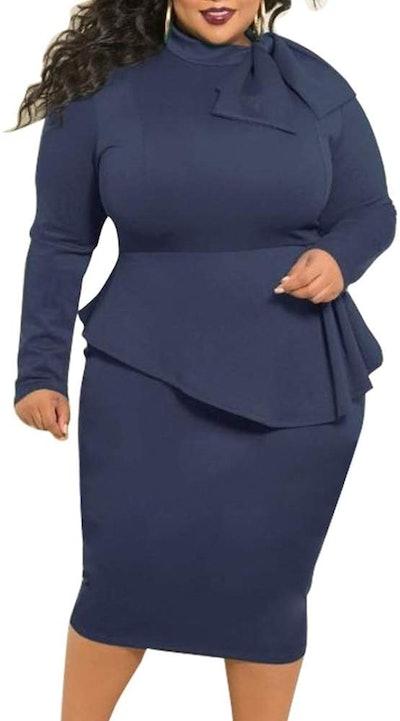 lexiart Peplum Dress With Bowknot