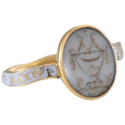 White Enamel Mourning Ring, circa 1768