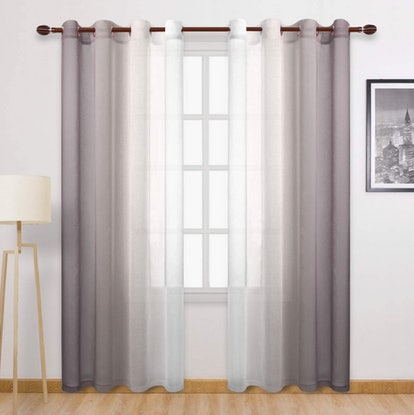 DWCN Ombre Faux Linen Sheer Curtains