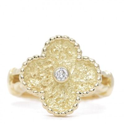 18K Yellow Gold Diamond Vintage Alhambra Ring