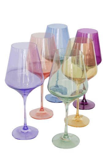 Colored Wine Stemware - Set of 6
