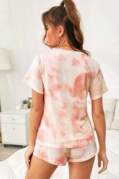 Esta Light Pink and Coral Tie-Dye Loungewear Set