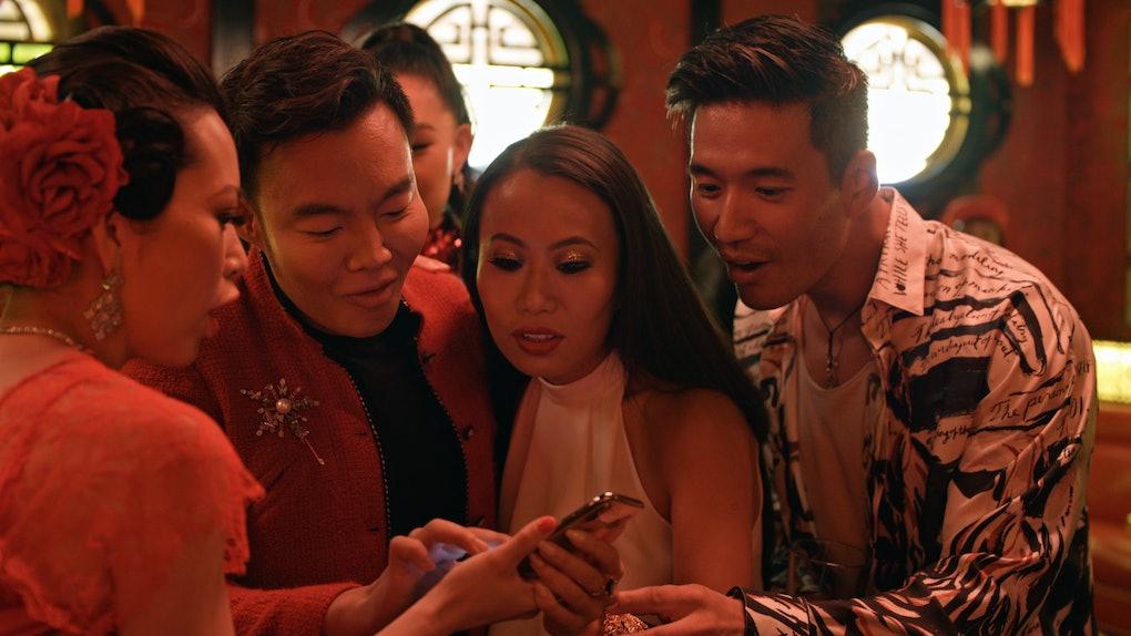"Christine Chiu, Kane Lim, Kelly Mi Li and Kevin Kreider. in episode 3 ""What's in Anna's Shower?"" of Bling Empire: Season 1. c. Courtesy of Netflix"