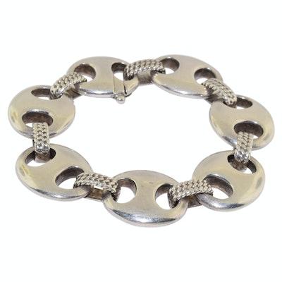 """1970s Silver """"Coffee Bean"""" Bracelet"""