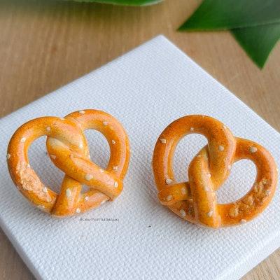 Pretzel Earrings Miniature Food Jewelry