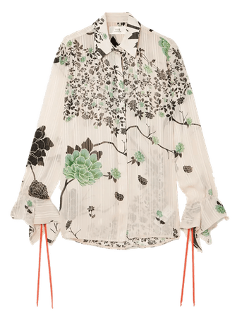 Floral Print Crepon Shirt