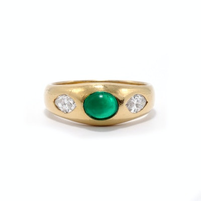 Emerald Cabochon With Marquise Diamonds Gypsy Ring