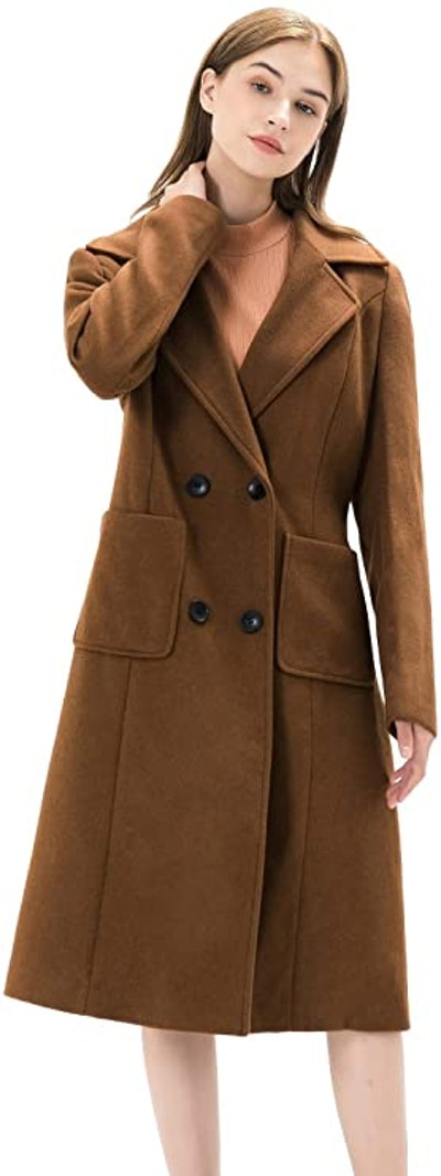 WQI.HAN Double Breasted Long Peacoat