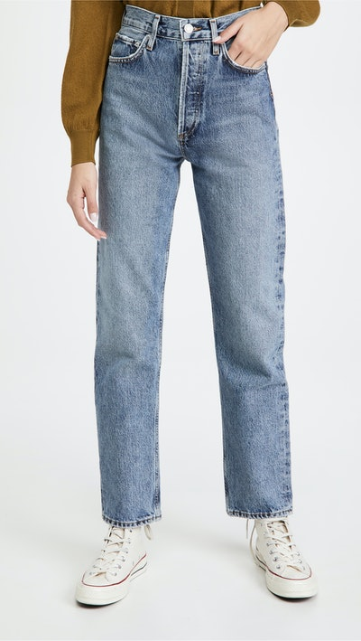 90's Pinch Waist High Rise Straight Jeans